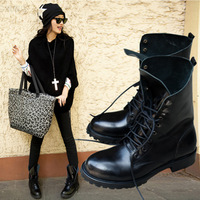 2013 autumn and winter fashion female boots martin british style punk rivet motorcycle boots genuine leather boots with lacing