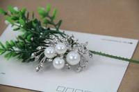 pearl flower brooch metal rhinestone brooch jewelry for women new design fashion free shipping