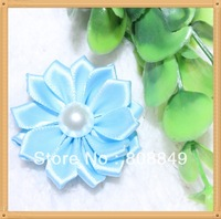 hair ribbon flowers handmade flowers Satin Ribbon Multilayers Flower With Pearl,Girl's Hair Accessories100pcs/lot free shipping