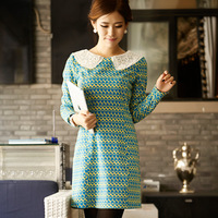 Cleanwater women's clean autumn peter pan collar long-sleeve slim one-piece dress free shipping