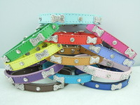 Bling dog collars pu cats pets collar with rhinestone bones mix colours XS for teddy chihuahua
