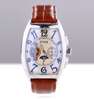 Casual fashion mechanical watch Brown leather strap men business watches high quality  - free shipping