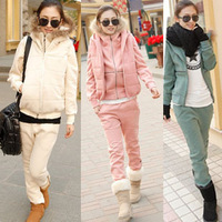 2013 Women's  fall and winter thick raccoon fur hooded zipper  leisure Sport suit