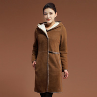 2013 nvchen one piece female fur outerwear luxury design fur long overcoat
