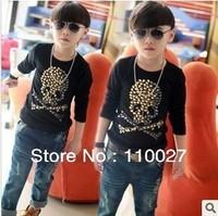 New Arrival baby black Tshirt for winter thick tops O-neck skull shirts 5pcs/lot diamond underwear skeleton backing shirts