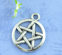 50 Silver Tone Pentagram Charms Pendants 20x17mm