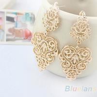 Hot 1pair Retro Vintage Alloy Women Silver Golden Long  Bohemian Pierced Earrings 1NHW