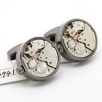 Watch  Cufflinks ,Round black shell and silver watch movement stripes cufflinks.800941  men jewelry