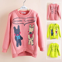 Children's clothing female winter child thermal 2013 plus velvet baby bear child basic shirt pullover sweatshirt fleece 1111-t03