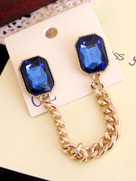 Fruitlet accessories blue gem brooch metal tassel chain collar chain shirt accessories g240