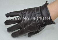 Men's Fashion PU Leather Winter Wrist Gloves Driving Gloves 3 Lines Black Brown