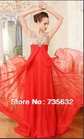 Actual Images Free shipping backless Sexy  prom A Line Royal Blue Chiffon gown Custom Free Floor length V Neck Evening gown A291