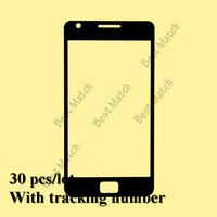 Free shipping 30pcs/lot Factory price Front screen glass lens for Black Samsung Galaxy S2 I9100 with tracking number