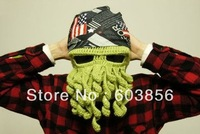 HOT Free shipping  Fashion novelty handmade knitting wool octopus unisex hat