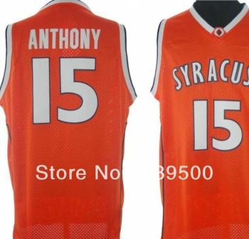 Free Shipping NCAA College Basketball Jersey Syracuse Orange 15 Camerlo Anthony Orange Size:S-XXL Mix JM22