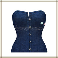 Ladies' Sexy Denim Corset G-String Women Bustier Denim Blue 2014 New Arrival SCW-13029 Free Shipping Russian Support