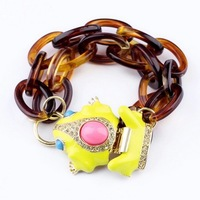 Fashion Personality Double Layer Cute Yellow Frog Clasp Link Bracelet Factory Free Shipping Min.order is $15(mix order)