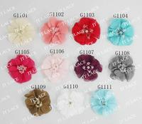 "DHL free shipping 2""mini chiffon pearl flower ,chiffon flower 100 pcs(11colors for selection)"