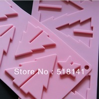 Min order $15 (mix order) Silicone mold cute cartoon 6pcs Christmas tree shape moulds Ice Cube Chocolate Cookie FDA grade