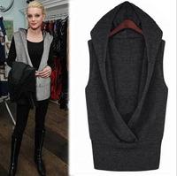 Cardigans NEW 2014 Autumn and Winter Women Fashion Plus Size Sweatshirt Female Top Outerwear Vest Black Grey Woolen Waistcoat