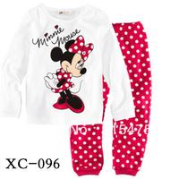 2013 new children kids pajamas sleepwear clothes sets cotton minnie mouse cartoon pajama girls boys clothing set free shipping