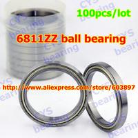 100pcs /lot 6811ZZ 61811ZZ  55x72x9mm 55*72*9mm 6811-2Z metal shielded steel ball bearing