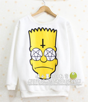 Harajuku zipper multicolour cartoon cross the loggerhead fleece sweatshirt lovers long-sleeve t-shirt