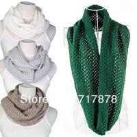 New!! Gorgeous Women Winterbreak Warm 2 Circle Cable Knit Cowl Neck Long Scarf Shawl Free shipping