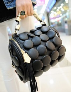 Small bucket bag 2013 fashion button bucket handbag vintage tote bag messenger bag handbag women's(China (Mainland))