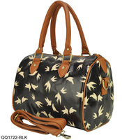 New Arrival 2013 Fashion Birds Pattern PVC Women's Handbag Vintage Ladies Totes Shoulder Bag Free Shipping QQ1722
