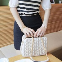 Bags high quality bubble gentlewomen nude color pleated clip package plaid women's handbag one shoulder cross-body women's