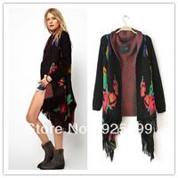 Punk Vintage Flower Pattern Women Loose Size Cardigan Tassel Purl Stylish Lady Winter Autumn Bow Neck Sweater Outwear Free Post