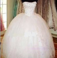 Hot Sale Fluffy Lacing Puff Strap Tube Top Slim Wedding Dress 2014 Yarn Paillette Beading Wedding Bridal Ball Dresses Gowns