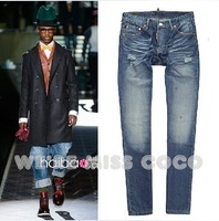 Cool! 2013 Heavy Worked Washed Paint Dots Ripped with Distinctive Back Pockets Denim Jeans for Men Male