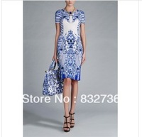 Free  Shipping   Women  Summer  dresses Party night   round collar blue  print  women's  dress