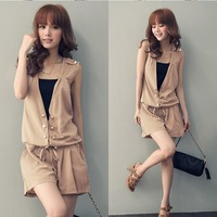 2013 Women Korean New Fashion Hot Buttons V-Neck Sleeveless Double-Breasted Drawstring Pants Shirt Jumpsuit Black Black Khaki