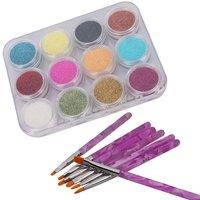 12 Color Nail Art Sparkle Glitter Powder Dust Tips Decoration + 7pcs Acrylic Painting Brush Set