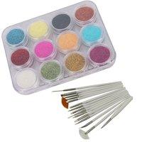 12 Color Nail Art Sparkle Glitter Powder Dust Tips Decoration + 15pcs Painting Brush Dotting Pen Set