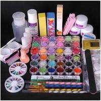 36 Acrylic Powder Full Acrylic Glitter Powder Glue French Nail Art UV Gel Tip Kit Set 7#