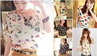 Women Summer 2014 New Chiffon Casual Animal Printing Bat Shirt Top Batwing-sleeved Blouse Loose Pluse Size blusas femininas
