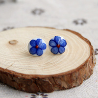 Ceramic Stud Earring Handmade Small Flower Small Circle New 2014 Fashion Vintage Jewelry Accessories Wholesale