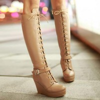 SY6,free shipping,size 34-43,leather,warm lining,platforms lady high heel fashion dress shoes women wedges knee boots