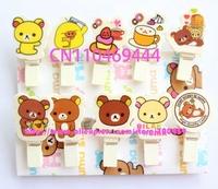 Free shipping  10bags 100pcs Rildkkuma Bear Cartoon Cute Wooden Cartoon Small Clip