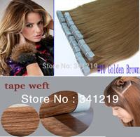 2014 New fashion mac makeup free shipping PU skin weft tape brazilian hair extensions 18.20.22 .24.26.28 inch #10 Golden Brown