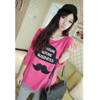 Fashion women's 2013 autumn color block print casual top cartoon t-shirt plus size all-match sweatshirt