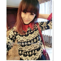 Women's 2013 autumn vintage print turn-down collar long-sleeve chiffon shirt loose casual shirt