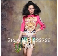 Women  Autumn 2013 Peter pan collar baroque printing design restoring ancient ways  mini sleeve dress free shipping