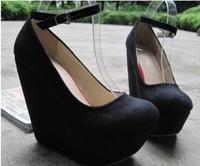 free ship wholesale/retail fashion suede round toe women wedges Pumps high wedges shoe women 12cm heels Euro Size 35-40,336-82