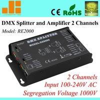 Free Shipping Popular DMX splitter, Digital signal amplifier, RJ45 & Pins terminal, 2 Channels output RE2000