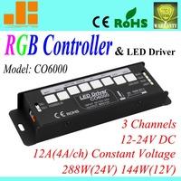 Free ShippingChanel 2013 RGB Controller, 3 Channels PWM LED RGB Controller, 24V/12A/288W CO6000